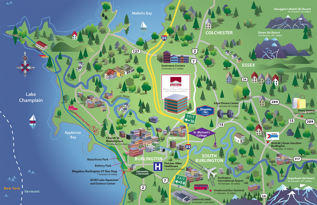 Campus Map Albany College Of Pharmacy And Health Sciences - Vermont colleges map
