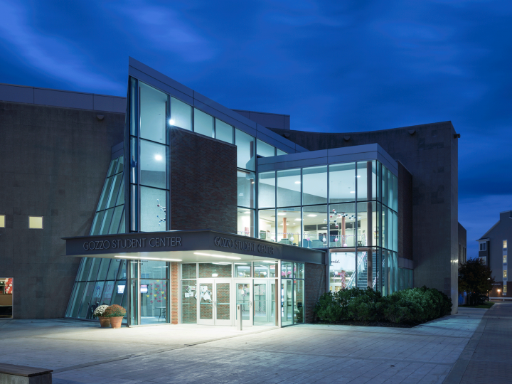 gozzo student center at night