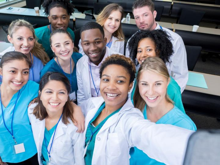 iStock-941440518-biomedical sciences overview photo group of med students selfie RS